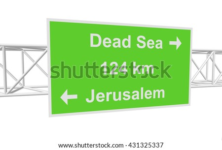 three-dimensional illustration of a road sign with directions: Jerusalem; Dead Sea; distance - stock vector