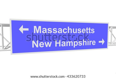 three-dimensional illustration of a road sign with directions: Massachusetts; New Hampshire - stock vector