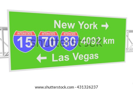 three-dimensional illustration of a road sign with directions: New York; Las Vegas - stock vector