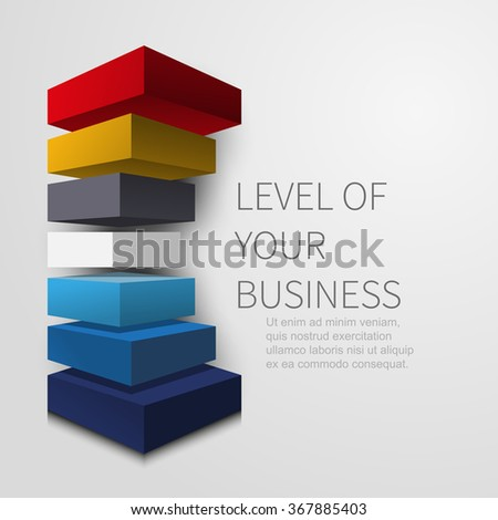 three-dimensional layered figure for infographics design - stock vector