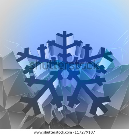 three dimensional magic blue mountain card with snowflake vector - stock vector