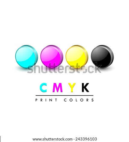 Three dimensional primary cmyk print color icons on white background - stock vector