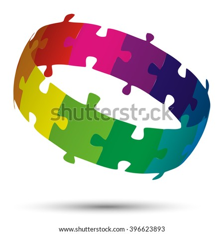 three dimensional puzzle circle colored with twelve parts - stock vector