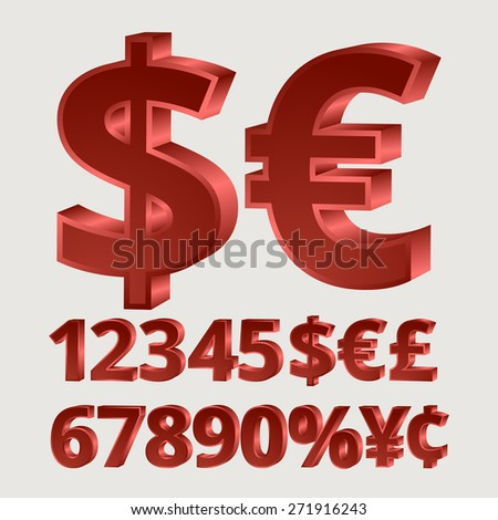 Three-dimensional red numbers currency - stock vector