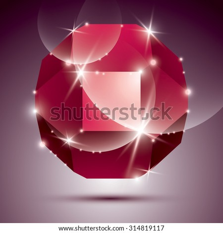 Three-dimensional red sparkling disco ball. Vector dazzling abstract illustration, eps10 treasure.  - stock vector