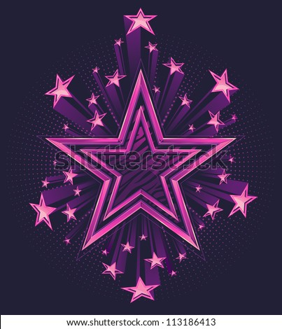 Three Dimensional Shooting Stars Vector Background Illustration. Star in the center has a highly polished chrome double outline with zebra stripe pattern fill. - stock vector