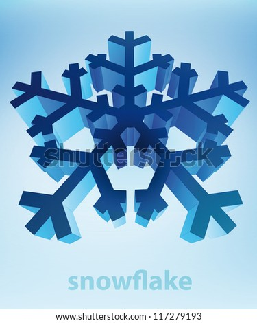 three dimensional snowflake perspective blue winter card vector template - stock vector
