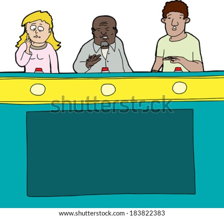 Three diverse game show contestants on isolated background - stock vector