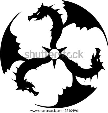 Three dragons forming a circle - stock vector