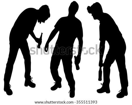 Three drunken men  - stock vector