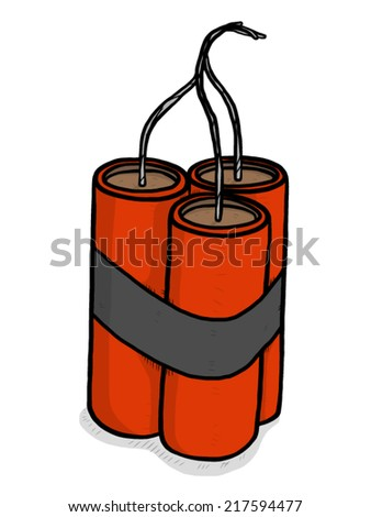 three dynamite sticks / cartoon vector and illustration, hand drawn style, isolated on white background. - stock vector