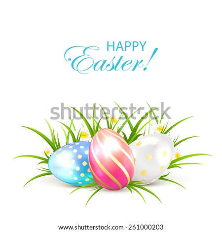 Three Easter eggs in a grass, illustration. - stock vector