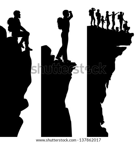 Three editable vector side panel silhouettes of hikers standing on top of a cliff or outcrop with all people as separate objects - stock vector