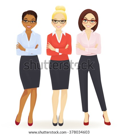 Three elegant business women in different poses - stock vector