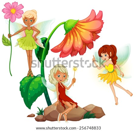 Three fairies and flowers - stock vector