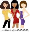 Three fashion women - stock vector