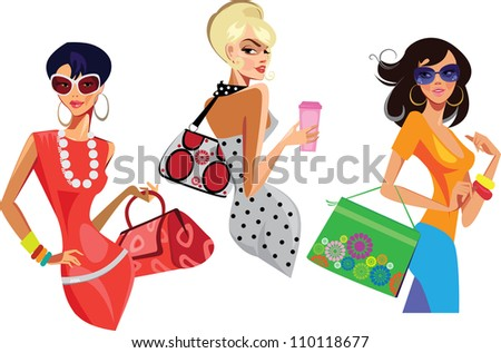 three fashion women with bags - stock vector