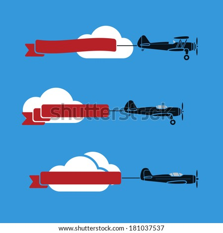 Three flat looking planes in the sky with ribbons and clouds - stock vector