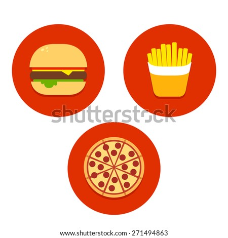 Three flat vector fast food icons: burger, french fries and pizza. - stock vector