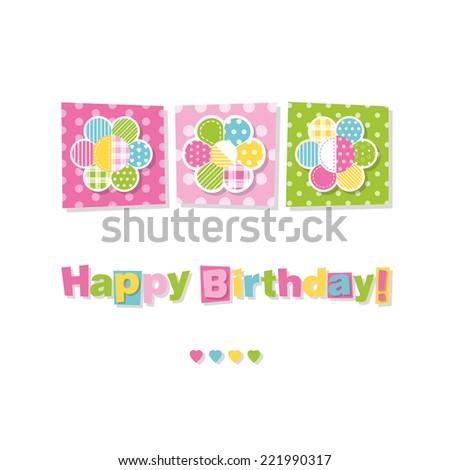 three flowers happy birthday card - stock vector