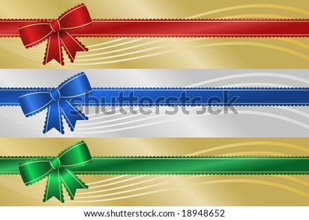Three frilly Christmas holiday ribbon banners with metallic background and abstract wave. - stock vector