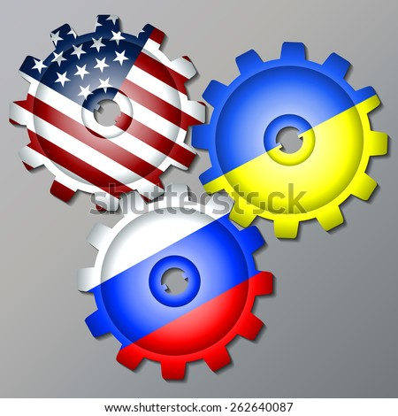 Three gear wheels, painted in the colors of the flag of Russia, Ukraine and the USA. Vector - stock vector