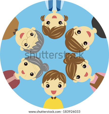 Three generation family forming circle / vector illustration - stock vector