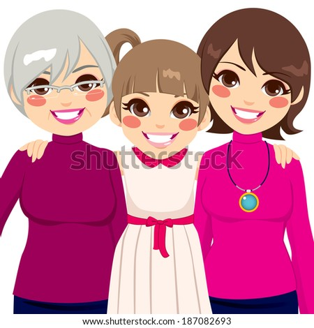 Three generation family women smiling happy together - stock vector