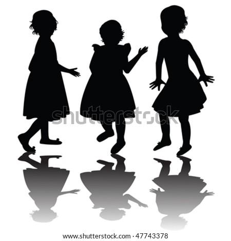 Three girls silhouettes - stock vector