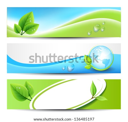 Three Green Eco Banners for Print or Web - stock vector