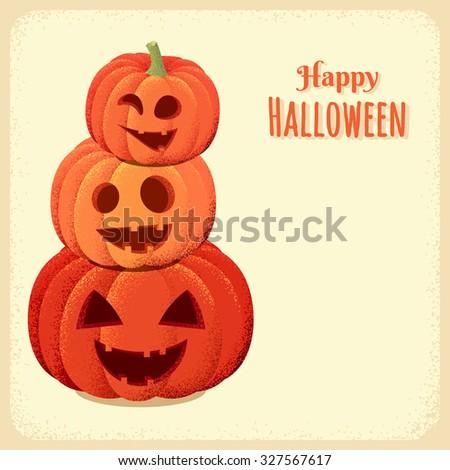 Three Halloween pumpkins card. Retro vector illustration - stock vector