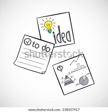Three hand drawn classic paper stickers with doodle sketches and notes on them. Square memo sticks isolated on white background. - stock vector