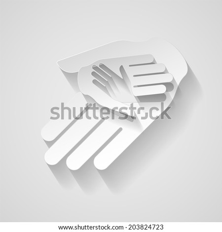 Three hands in paper style as idea of help and teamwork  - stock vector