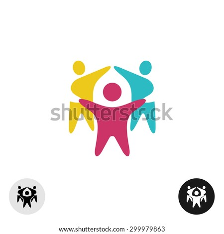 Three happy motivated people in a round colorful logo - stock vector