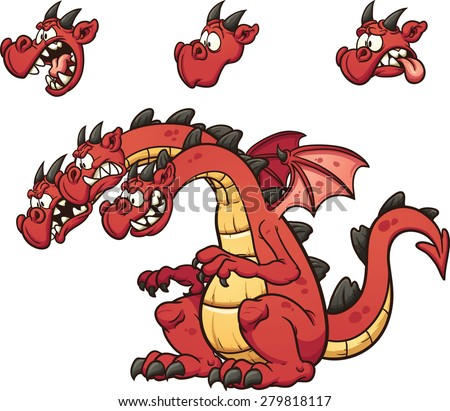 Three headed cartoon dragon. Vector clip art illustration with simple gradients. Each element on  a separate layer - stock vector