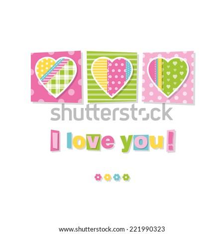 three hearts I love you card - stock vector