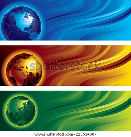 Three horizontal banners with globes on abstract backgrounds. Eps8. CMYK. Organized by layers. Global colors. Gradient used. - stock vector