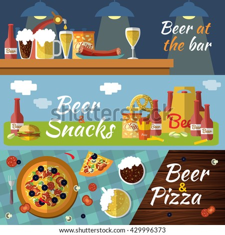 Three horizontal beer flat banner set with titles beer at the bar beer snacks beer and pizza vector illustration - stock vector