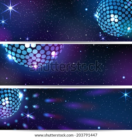Three Horizontal Disco Backgrounds. EPS 10. Masks are used.  Smartly grouped and layered. - stock vector