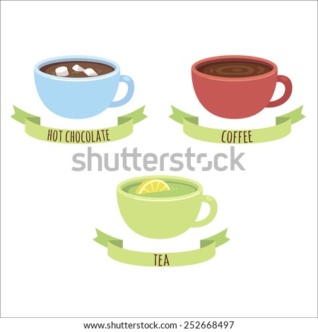 three hot drink cups: hot chocolate, coffee and green tea, with captions on ribbons, isolated on white background - stock vector