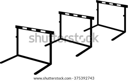 Three hurdles in a row - stock vector