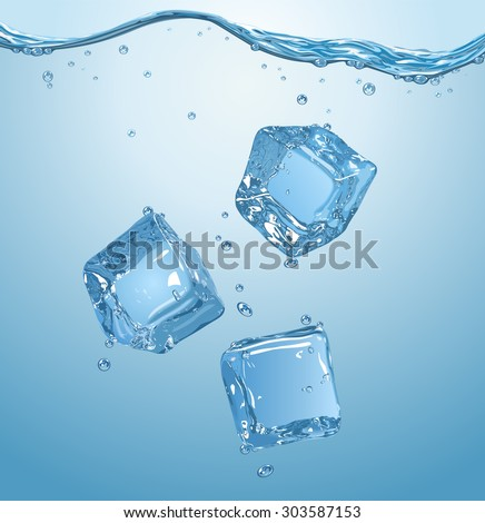 Three ice cubes dropped into water. Vector illustration. EPS10. - stock vector