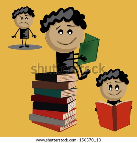 three icons of the same boy with black hair reading books - stock vector
