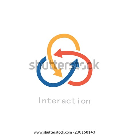 three intersecting arrows interaction concept - stock vector