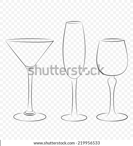 Three isolated outline glass for alcohol drinks - stock vector