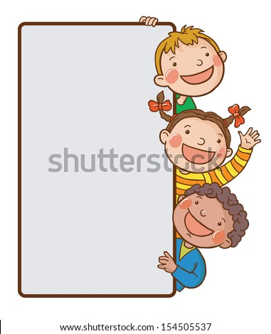 Three kids peeping behind placard.Back to School isolated objects on white background. Great illustration for a school books and more. VECTOR. Editorial. Education. Advertising. Board. - stock vector
