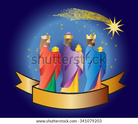 Three kings or three wise men with a star and a ribbon. Christmas nativity vector illustration. - stock vector
