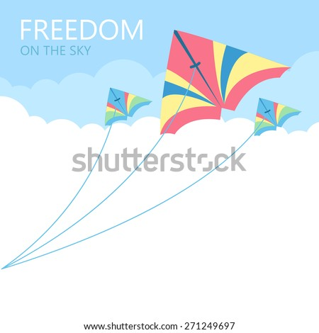 Three kites in the sky with cloud background, Kite flying. - stock vector