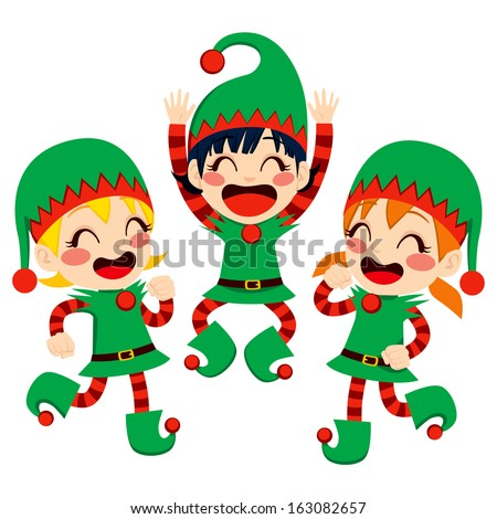 Three little children dressed in Santa Claus Helpers costume dancing happy on Christmas Eve time - stock vector