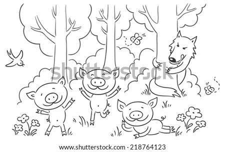 Three little pigs fairy tale, no gradients - stock vector
